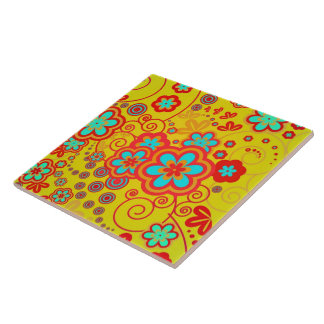 Yellow Whimsical Garden Tile