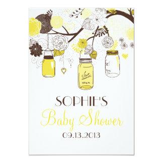 "Yellow Whimsical Mason Jars Baby Shower Invitation 5"" X 7"" Invitation Card"