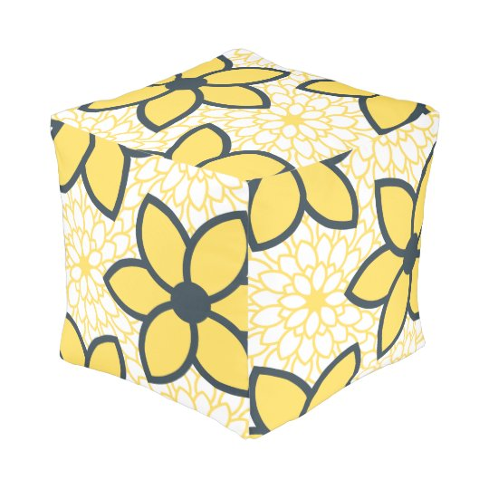Yellow, White and Charcoal Modern Floral Pouf