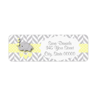 Yellow, White and Gray Elephant Baby Shower