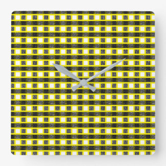 Yellow, White and Static Black Weave Square Wall Clock