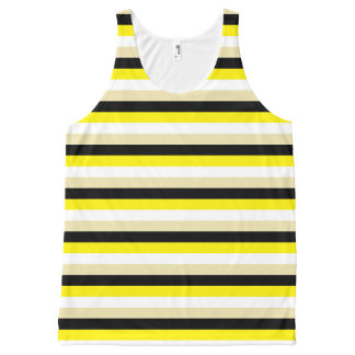 Yellow, White, Beige and Black Stripes All-Over-Print Tank Top