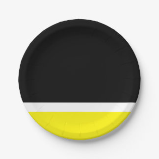 Yellow white black colorblock 7 inch paper plate