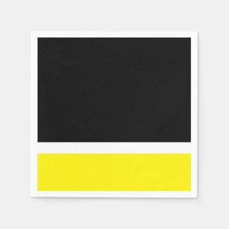 Yellow white black colorblock paper napkins