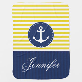 Yellow White  Blue Anchor With Personalized Name Baby Blanket