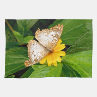yellow white butterfly moth kitchen towel
