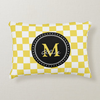 Yellow White Checkerboard Pattern Accent Pillow