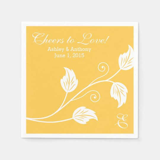 Yellow White Cheers to Love Personalized Wedding Paper Napkin