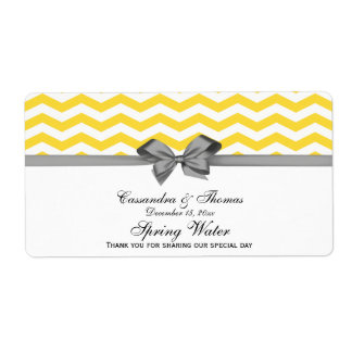 Yellow, White Chevron Gray Party Water Label Shipping Label
