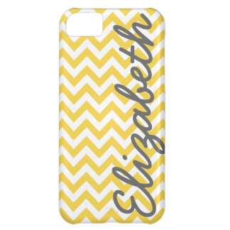 Yellow White Chevron Pattern iPhone 5C Cover