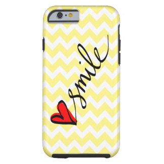 Yellow White Chevron Smile Typography Cute Heart Tough iPhone 6 Case
