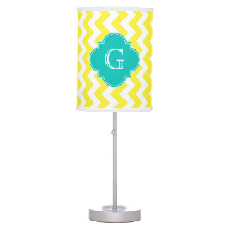 Yellow White Chevron Teal Quatrefoil Monogram Table Lamp