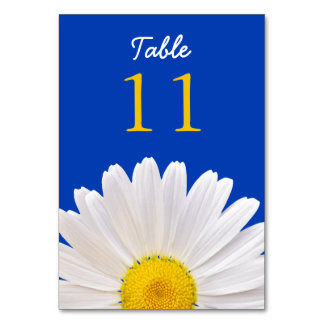 Yellow White Cobalt Shasta Daisy Flower Wedding Card