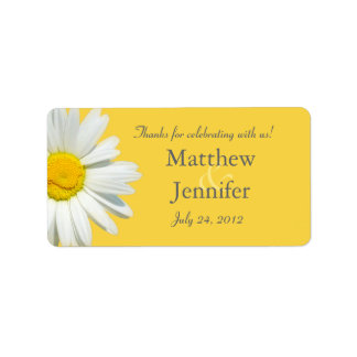 Yellow & White Daisy Wedding Favor Label / Sticker