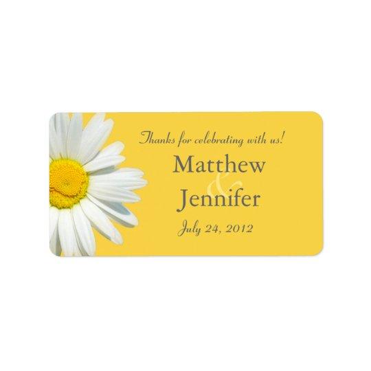 Yellow & White Daisy Wedding Favour Label /