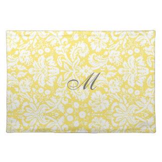Yellow White Damask Monogram Floral Place Mats