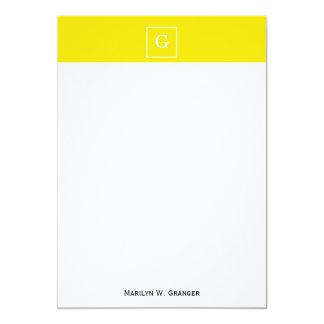 "Yellow White Framed Initial Monogram 5"" X 7"" Invitation Card"