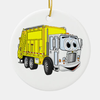 Yellow White Garbage Truck Cartoon Ceramic Ornament