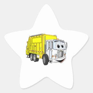 Yellow White Garbage Truck Cartoon Star Sticker