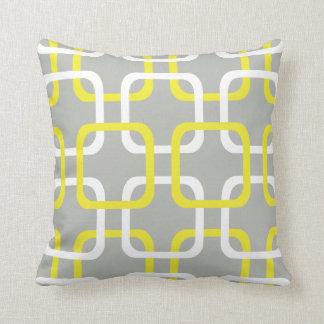 Yellow & White Geometric links on grey pillow