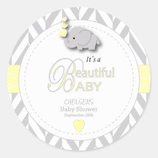 Yellow, White Gray Elephant Baby Shower Classic Round Sticker