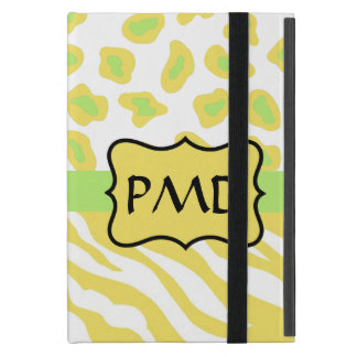 Yellow White & Green Zebra & Cheetah Personallzed iPad Mini Cover