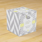 Yellow, White Grey Elephant Baby Shower Favor Box