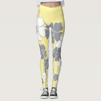 Yellow, White, & Grey Flower Leggings