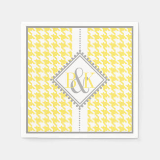 Yellow, white houndstooth pattern wedding paper napkins