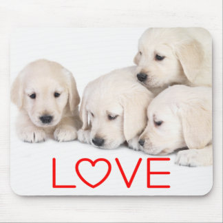 Yellow White Labrador Retriever Puppy Red Love Mouse Pad