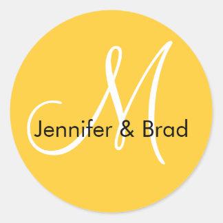 Yellow White Names Monogram Wedding Favour Sticker