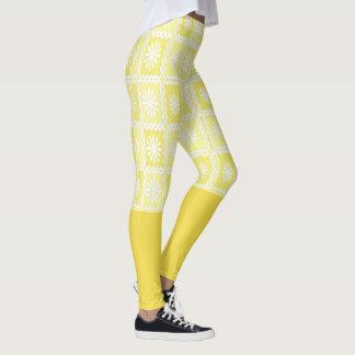 Yellow,White Pattern to Knee Leggings