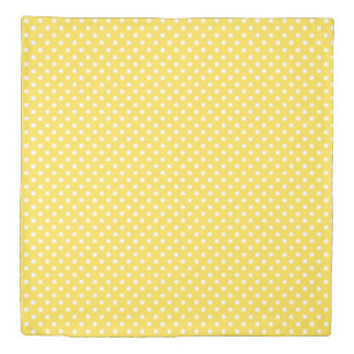 Yellow white polka dots pattern queen duvet cover