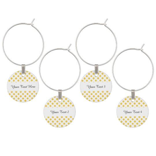 Yellow White Polka Dots Pattern Wine Charm