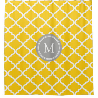 Yellow White Quatrefoil Monogram Shower Curtain