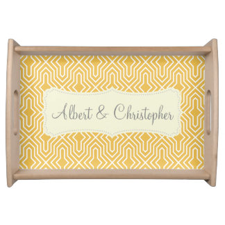 Yellow white seamless monogram Serving Tray