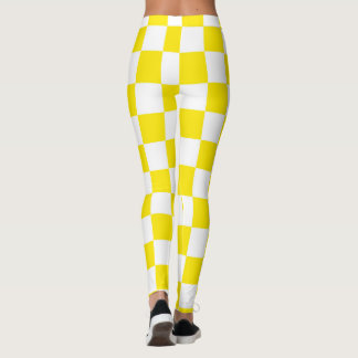 Yellow & White Squares abstract repeatable Leggings
