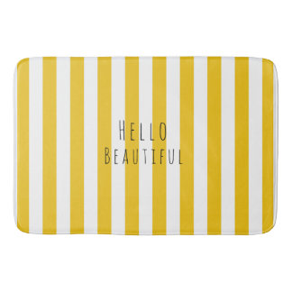 Yellow & White Stripes Modern Chic Bright Bold Bathroom Mat