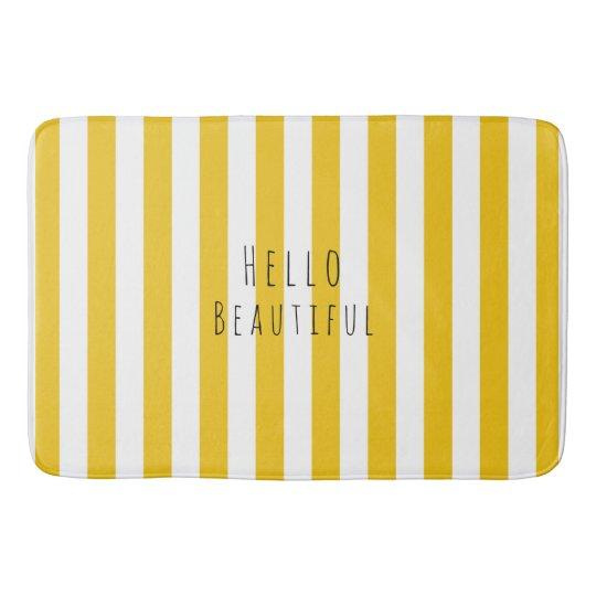Yellow & White Stripes Modern Chic Bright Bold Bathroom Mat