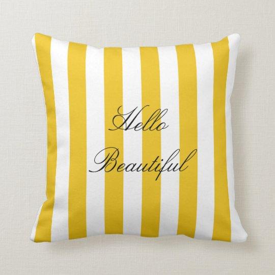 Yellow & White Stripes Modern Chic Bright Bold Throw Pillow