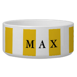 Yellow & White Stripes Modern Chic Pet Dog Bowl