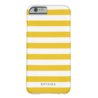 Yellow & White Stripes Modern Striped Personalized Barely There iPhone 6 Case