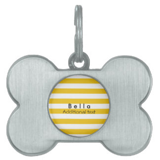 Yellow & White Stripes Modern Striped Personalized Pet ID Tag