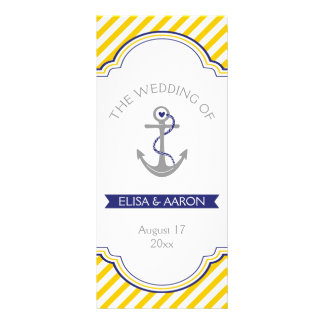 Yellow white stripes navy nautical wedding program