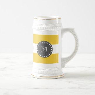 Yellow White Stripes Pattern, Charcoal Monogram 18 Oz Beer Stein