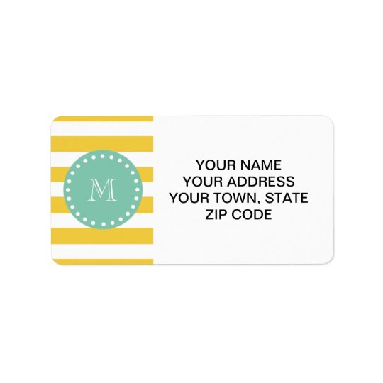 Yellow White Stripes Pattern, Mint Green Monogram