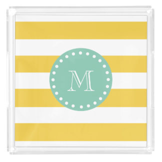 Yellow White Stripes Pattern, Mint Green Monogram Acrylic Tray