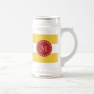 Yellow White Stripes Pattern, Red Monogram 18 Oz Beer Stein