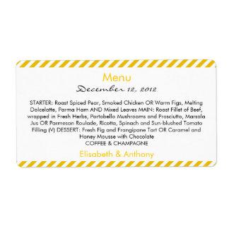yellow & white stripes wedding menu shipping label