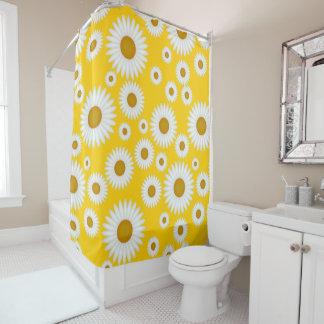 yellow white sunshine daisy pattern shower curtain
